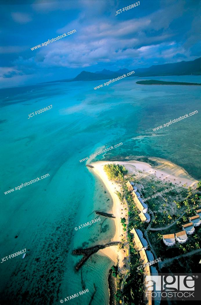 Stock Photo: Mauritius, Morne Brabant, aerial view.