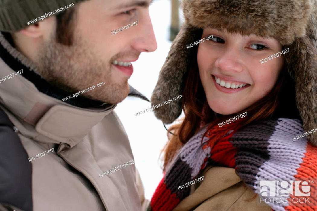 Stock Photo: Couple in winter clothes.