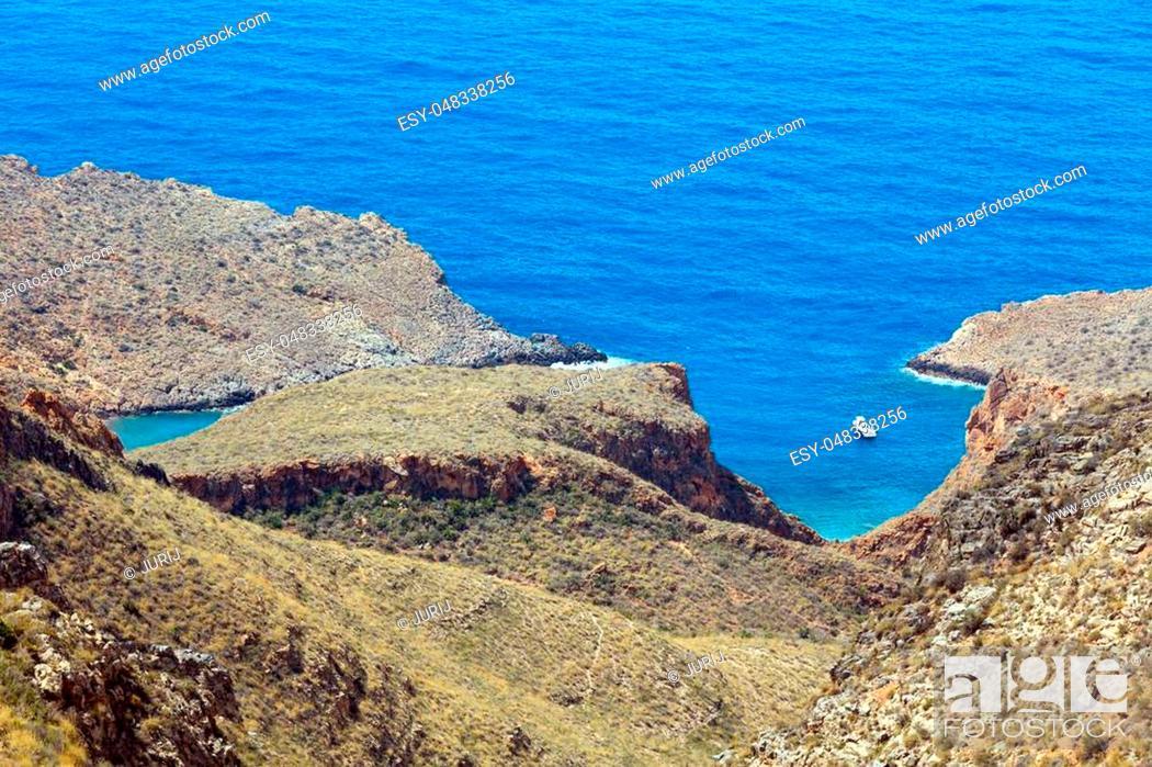 Stock Photo: Mediterranean Sea summer coastline. Top view from Tinoso cape (Cartagena, Spain).