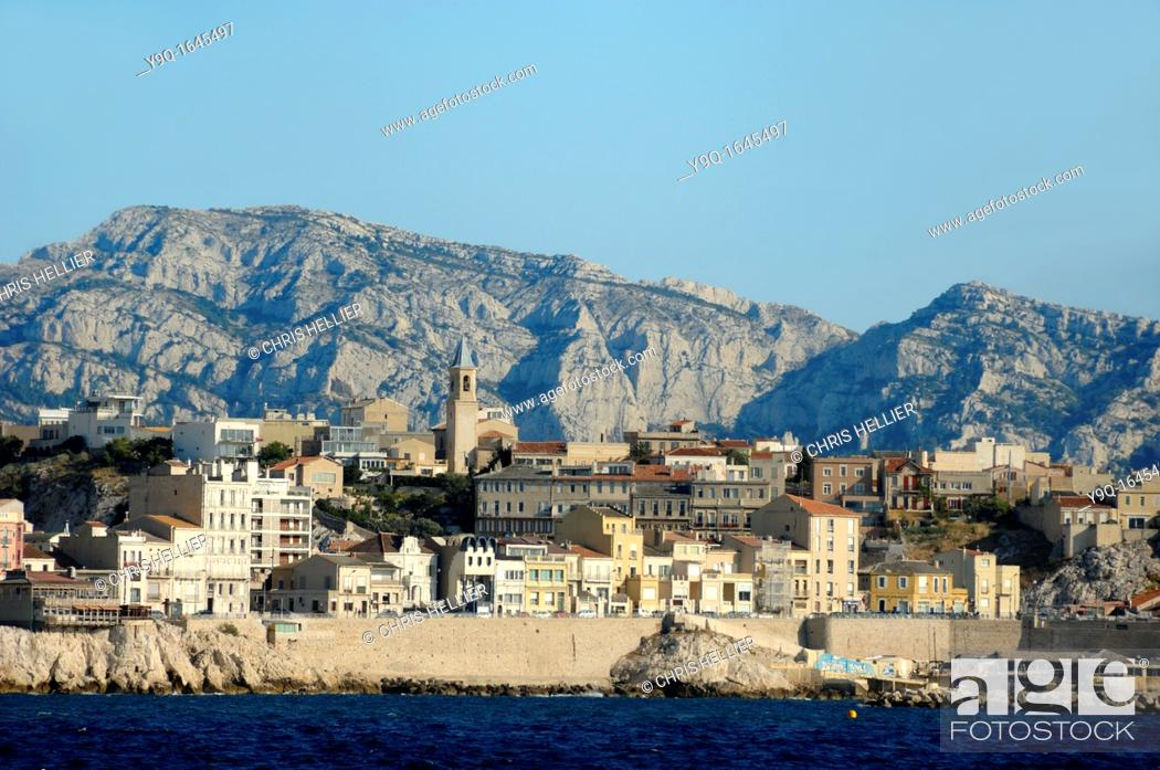 Stock Photo: Endoume District of Marseille Townscape or Cityscape from the Sea Marseille or Marseilles France.