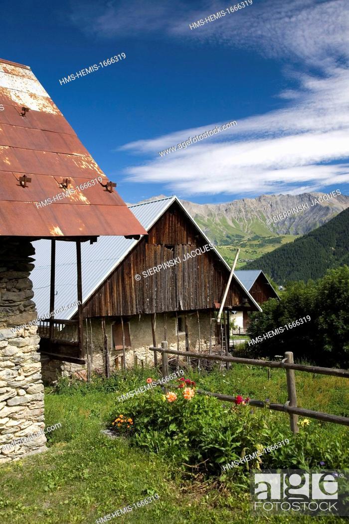 Stock Photo: France, Savoie, Maurienne region, Arvan Valley, St Jean d'Arves, farm and barn.