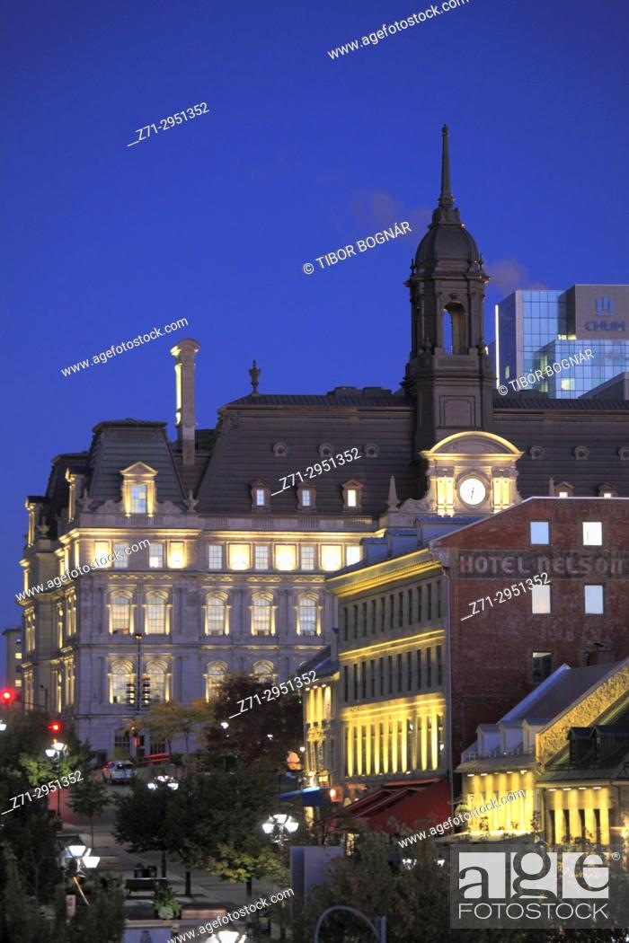 Stock Photo: Canada, Quebec, Montreal, City Hall, Place Jacques Cartier, .