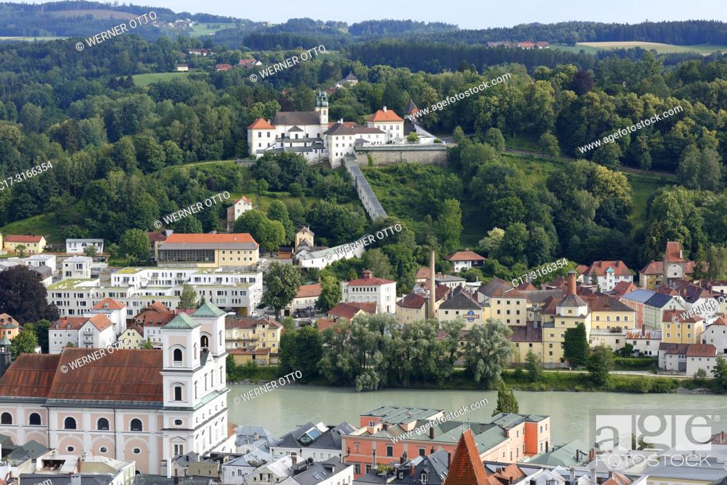 Stock Photo: Passau, D-Passau, Danube, Inn, Ilz, panoramic view with Inn and old town, Monastery Niedernburg with tomb of the Blessed Gisella.