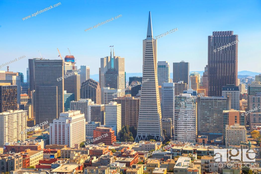 Stock Photo: San Francisco skyline. Aerial view of Financial District and Transamerica Pyramid from top of Coit Tower on sunny day, California, United States.