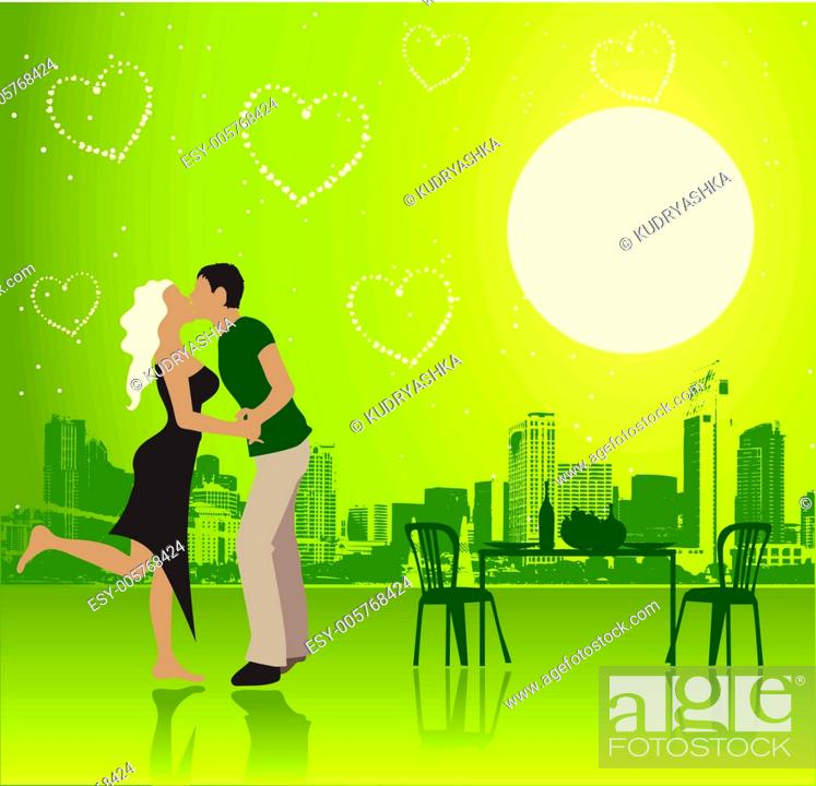 Stock Vector: Valentine day, urban scene, couple.