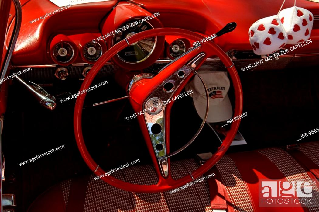 Dashboard and cockpit of a 1960 Chevrolet at a Classic Car