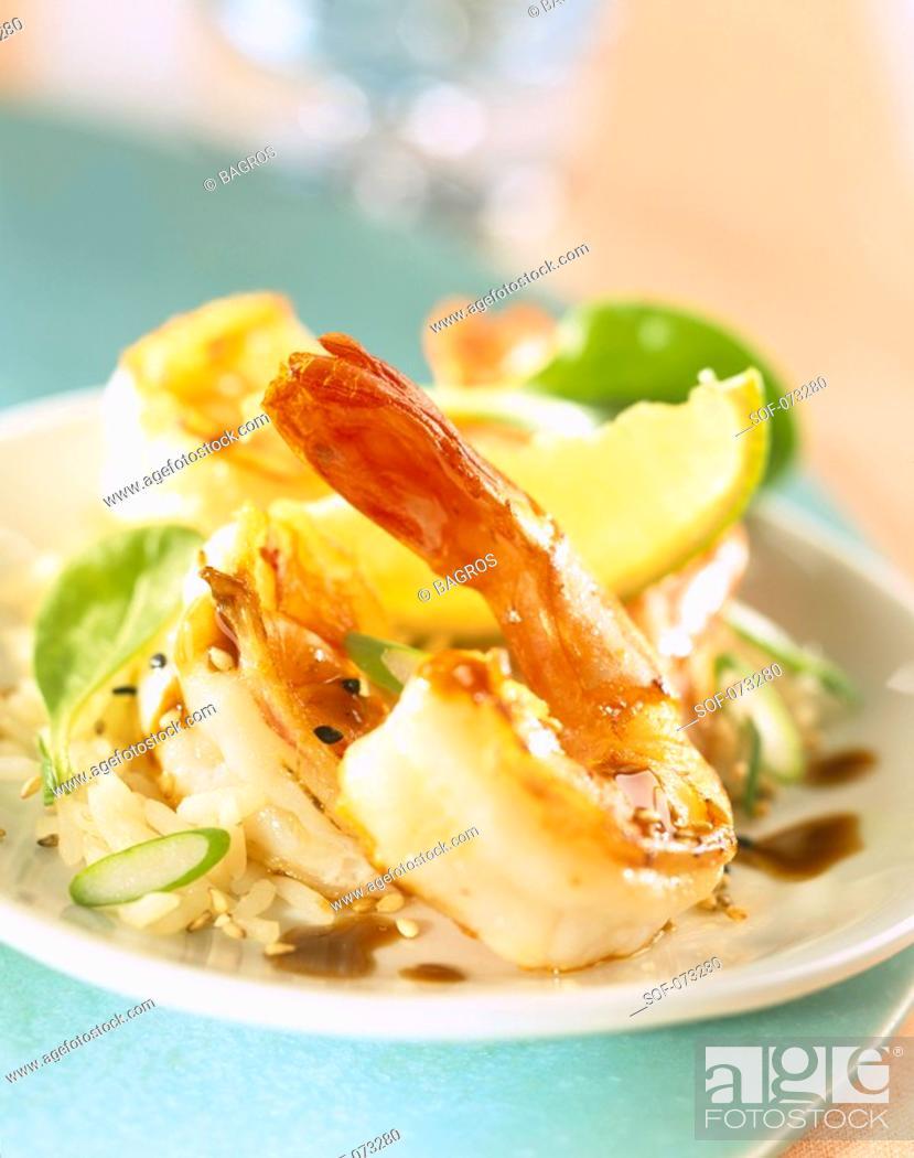 Stock Photo: Mediterranean prawn salad.