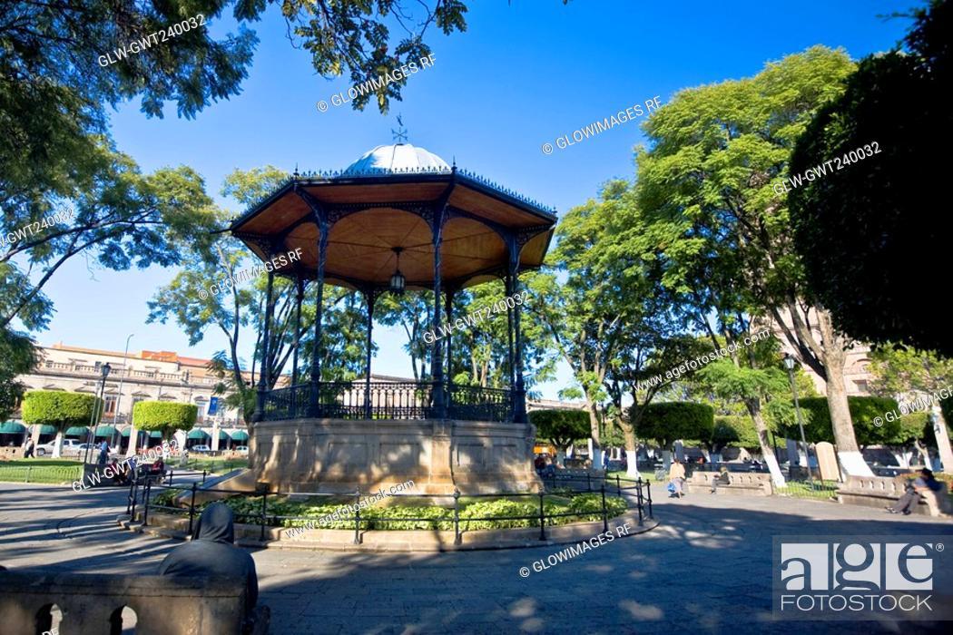 Stock Photo: Gazebo in a park, Plaza De Los Martires, Morelia, Michoacan State, Mexico.