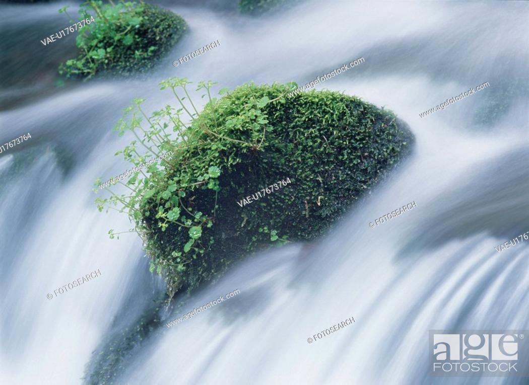 Stock Photo: Rocks In Waterfall.