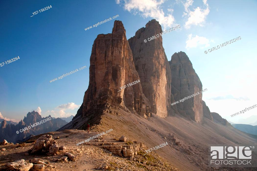 Stock Photo: Tre Cime di Lavaredo, Dolomites, eastern Alps, South Tyrol, Bolzano province, Italy.