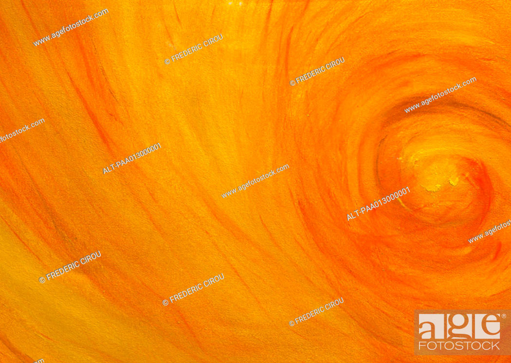 Stock Photo: Yellow-orange painted swirl, close-up, full frame.