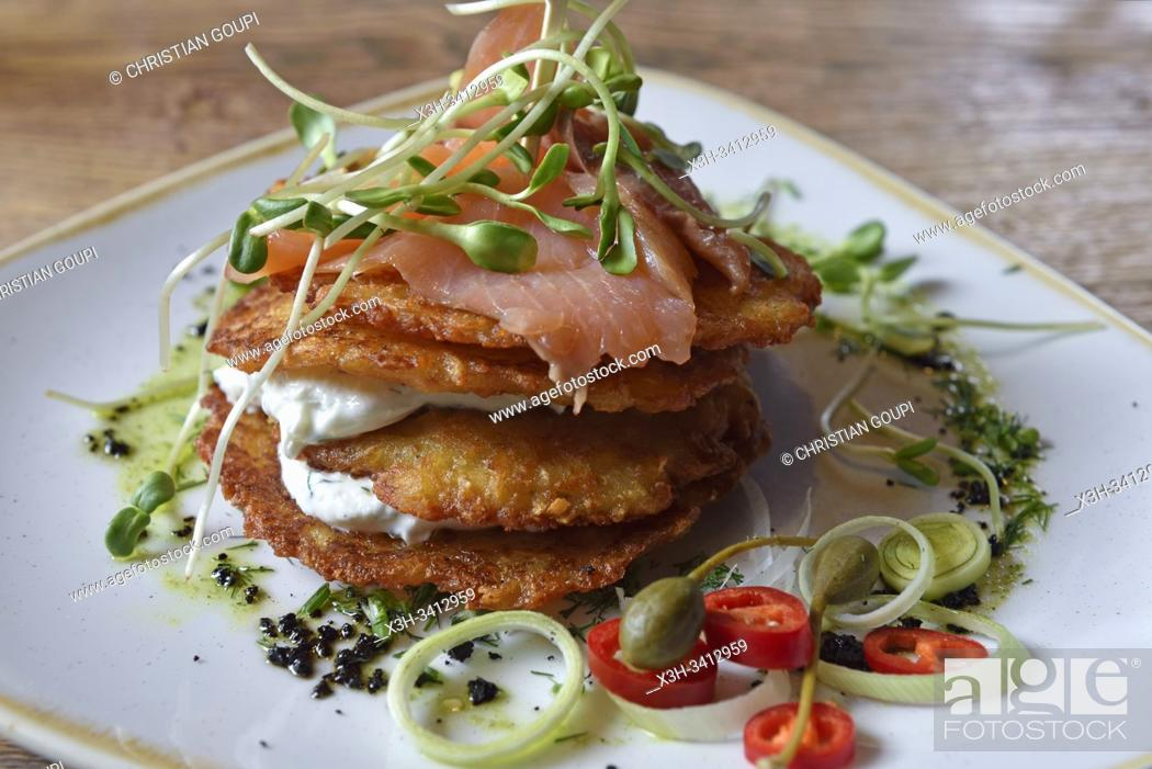 Stock Photo: potato pancakes with smoked salmon and curd, Grey restaurant, Pilies Street 2, Vilnius, Lithuania, Europe.