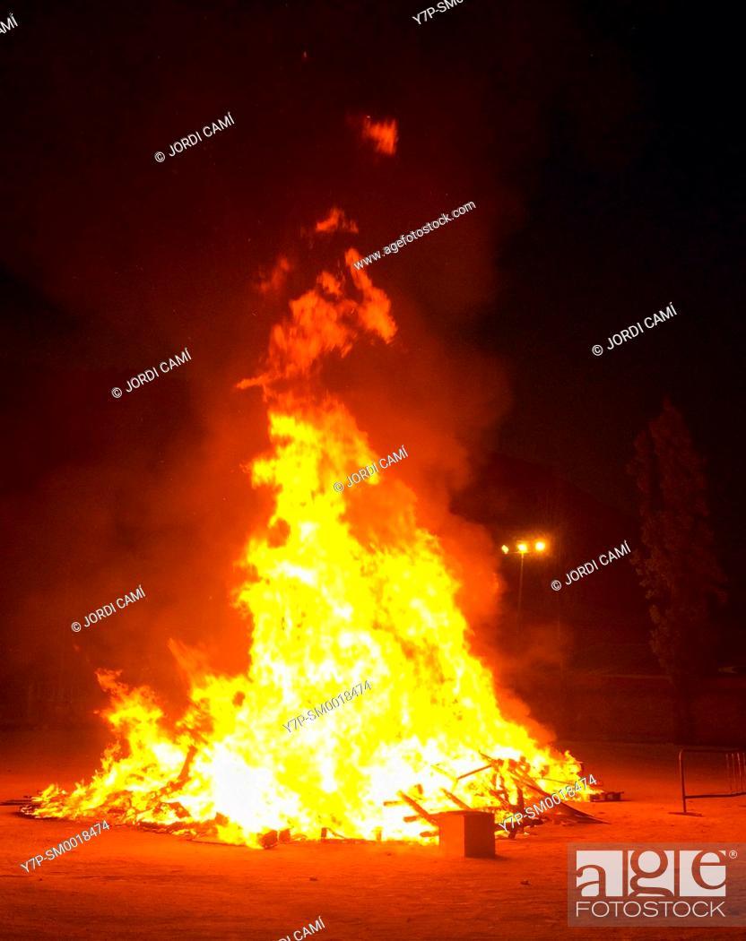 Stock Photo: Bonfire to celebrate Saint John.Capellades.Anoya.Barcelona province.Catalonia.Spain.