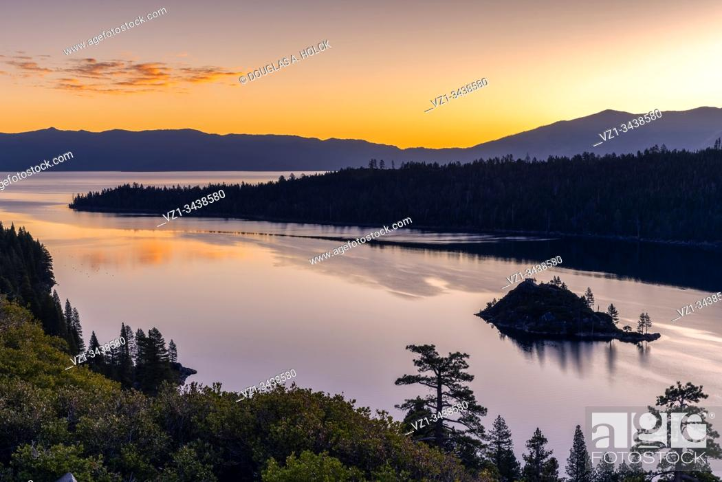 Stock Photo: Golden Hour on Emerald Bay Lake Tahoe CA USA.