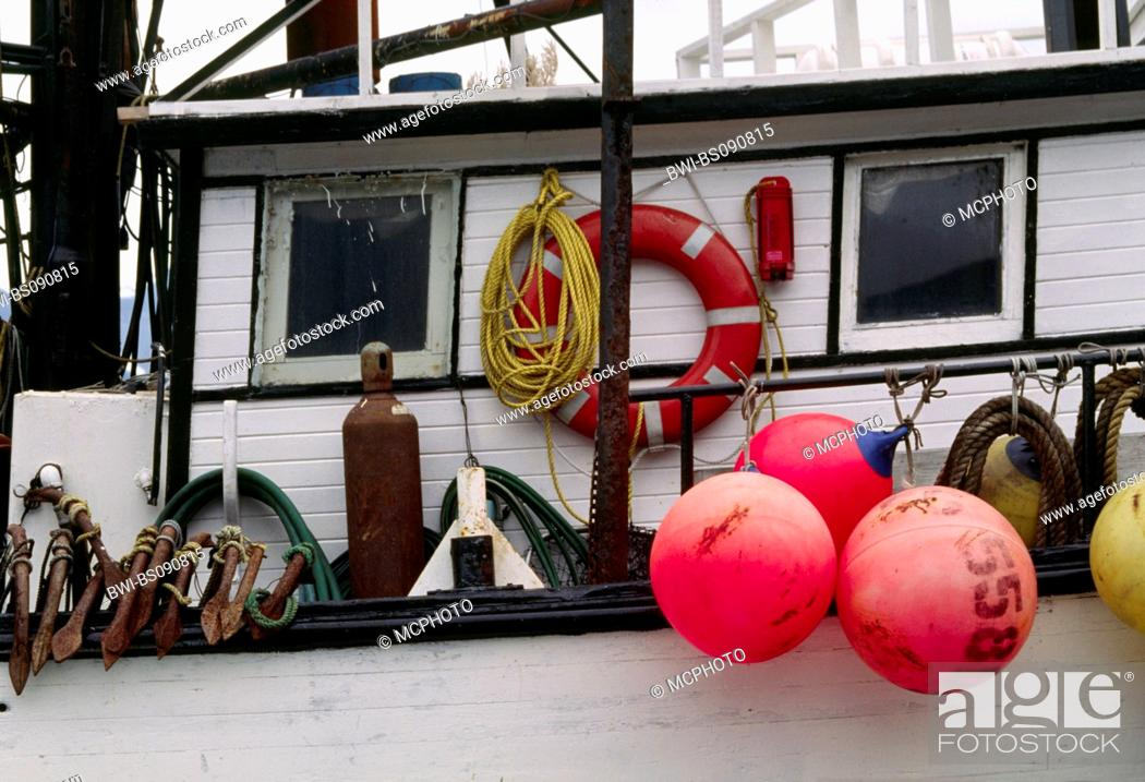 Photo de stock: The colorful fishing floats of a boat at dock in SEWARD HARBOR, USA, Alaska.