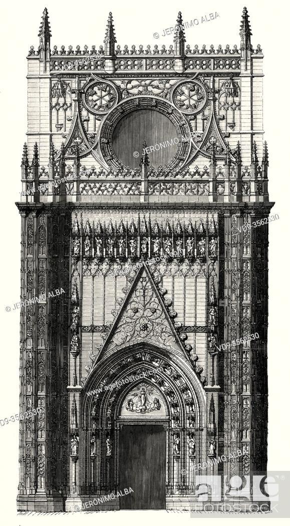 Stock Photo: Comprehensive restoration of the Puerta de la Concepción in 1866, next to the Patio de los Naranjos in the cathedral of Seville. Andalusia, Spain.