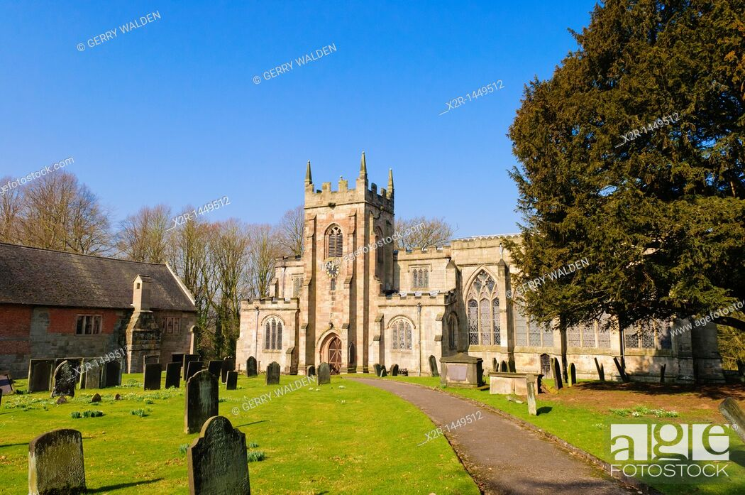 Stock Photo: The church of St  Mary and St  Barlock in Norbury, Derbyshire, England.
