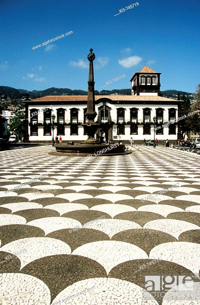 Stock Photo: Town Hall, Camara Municipal, Municipal Square, Praca Do Municipio, Funchal, Madeira.