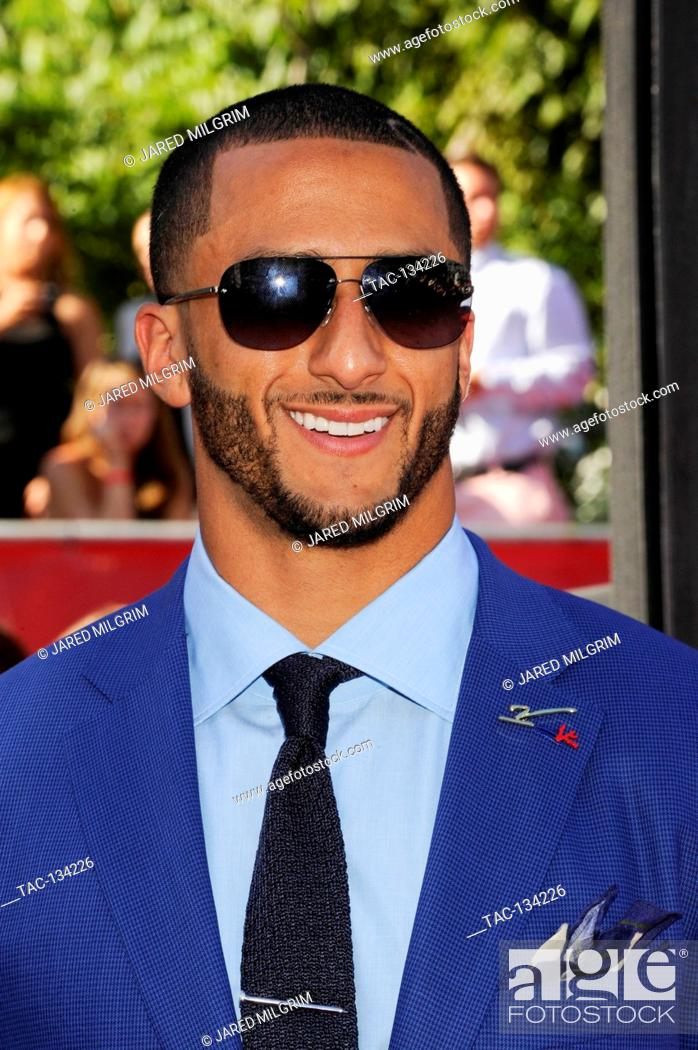 Stock Photo: Colin Kaepernick arrives at the 2014 ESPY Awards at Nokia Theatre L.A. Live on July 16, 2014 in Los Angeles, California.