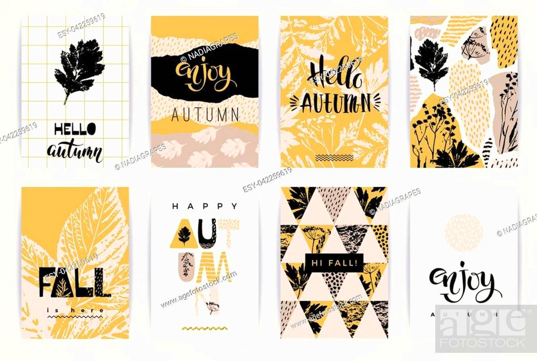 Stock Vector: Set of artistic creative autumn cards. Hand Drawn textures and brush lettering. Design for poster, card, invitation, placard, brochure, flyer.