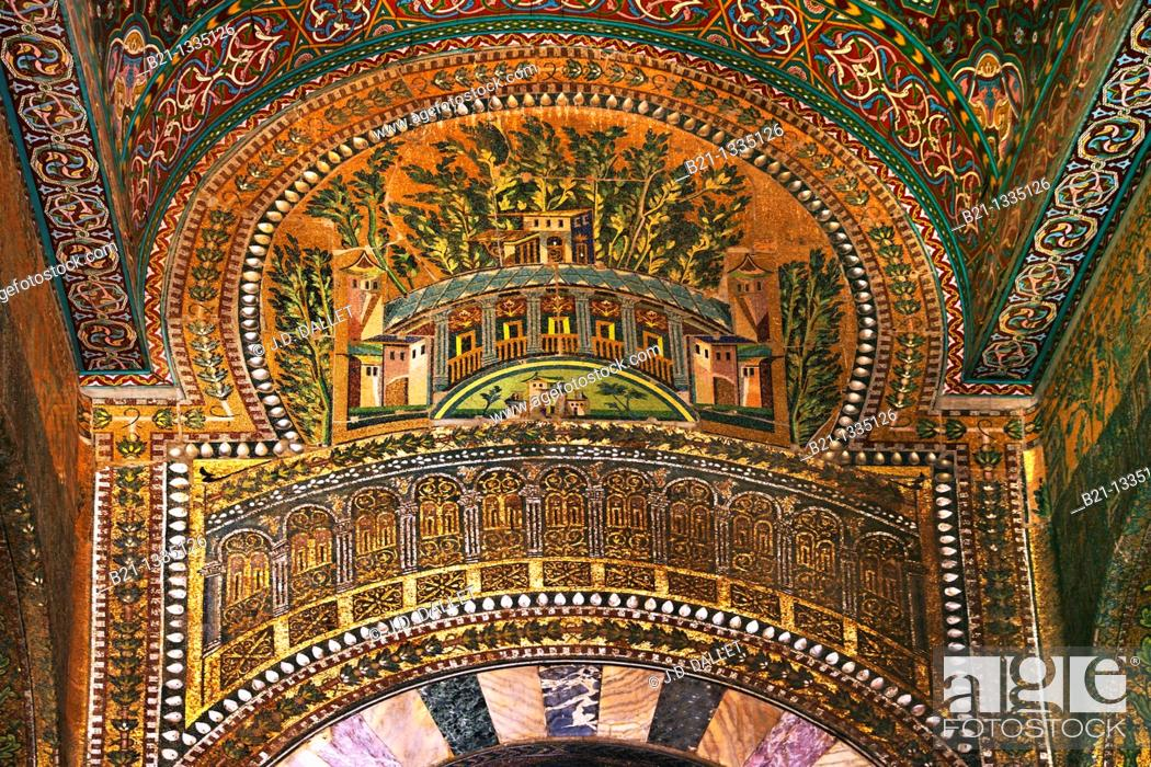 Stock Photo: Syria, Damascus, Mosaic detail at the Umayyad Mosque, also known as the Grand Mosque of Damascus Arabic:    , transl  Gam' Bani 'Umayyah al-Kabir.