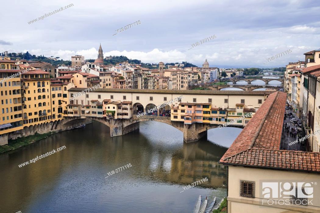 Stock Photo: The Ponte Vecchio, Medieval stone closed-spandrel segmental arch bridge over the Arno River, Florence, capital of Tuscany region, Italy.