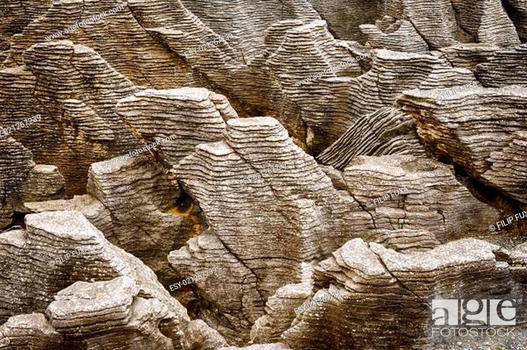 Stock Photo: Pancake rock.