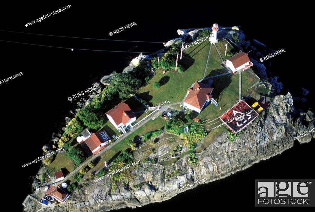 Stock Photo: Aerial of Chrome Island Lighthouse, British Columbia, Canada.