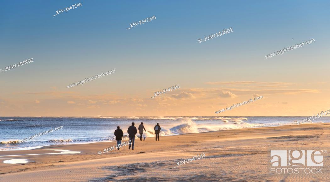 Stock Photo: Beach Punta del Moral. Ayamonte. Sunset. windy day.