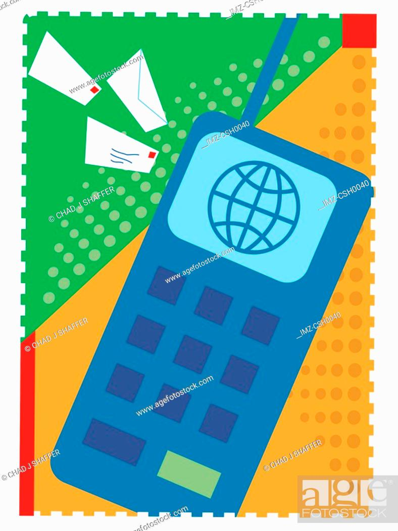 Stock Photo: An illustration of emailing by cell phone.