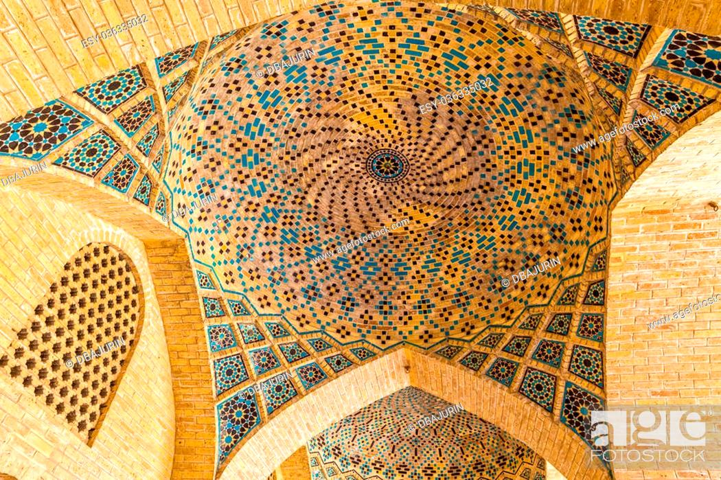 Stock Photo: Ceiling dome in the beautiful Nasir Al-Mulk Mosque or Pink Mosque a traditional mosque located in Goad-e-Araban place in Shiraz.