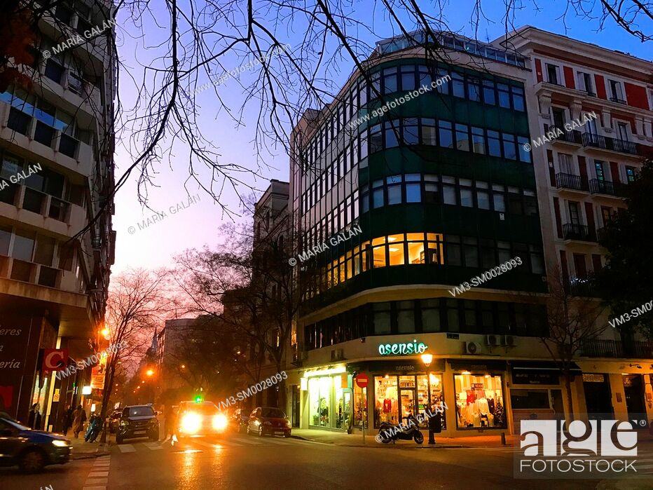Stock Photo: Jorge Juan street, night view. Madrid, Spain.