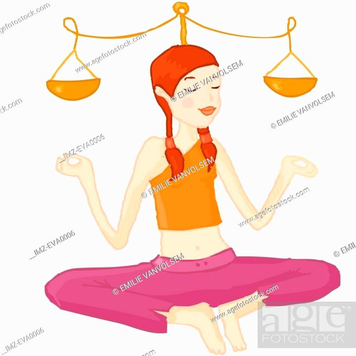 Stock Photo: A Libra girl balancing the scale as she does yoga.