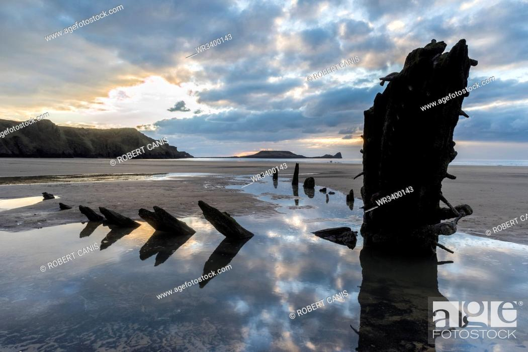 Stock Photo: Wreck of the Helvetia, Rhossilli Bay, Gower, South Wales, United Kingdom, Europe.