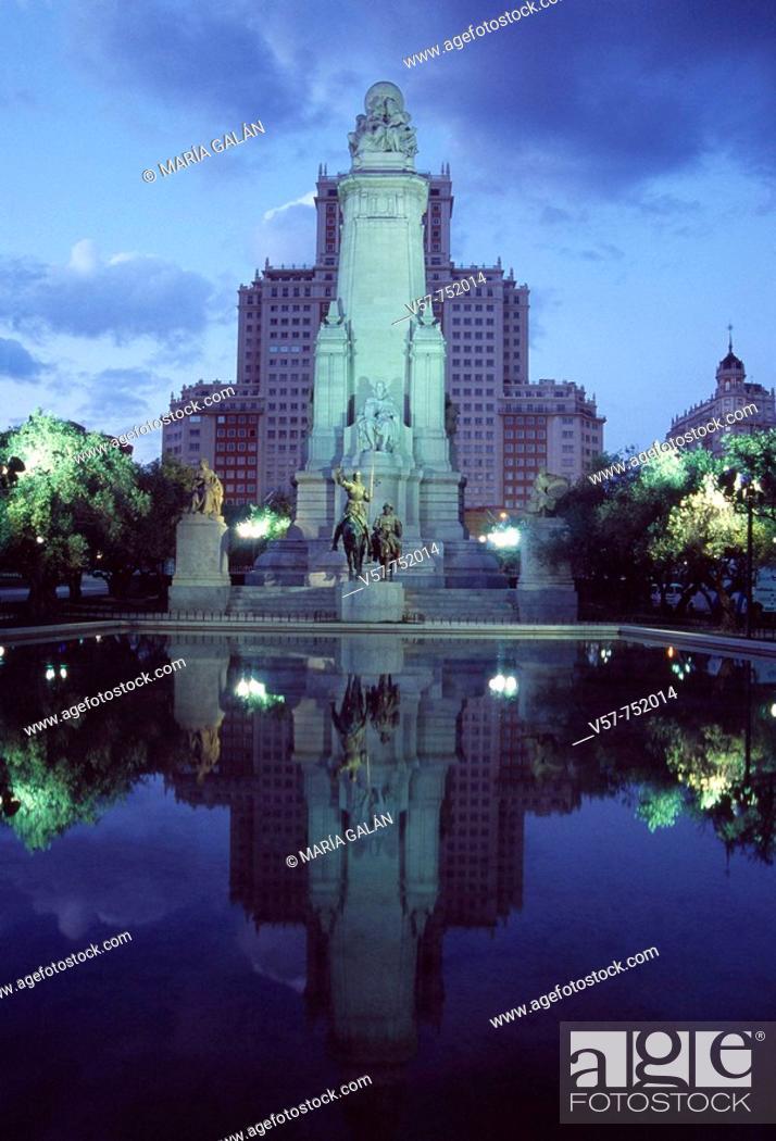Stock Photo: Monument to Cervantes in Plaza de España at night, Madrid, Spain.