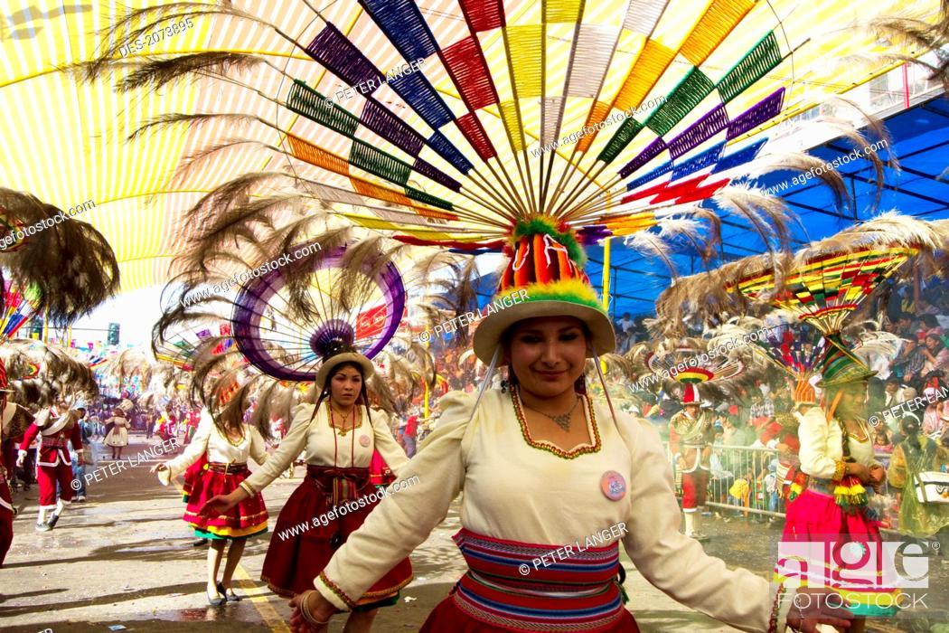 Stock Photo: Suri Sicuri Dancers Wearing Elaborate Feather Headdress In The Procession Of The Carnaval De Oruro, Oruro, Bolivia.