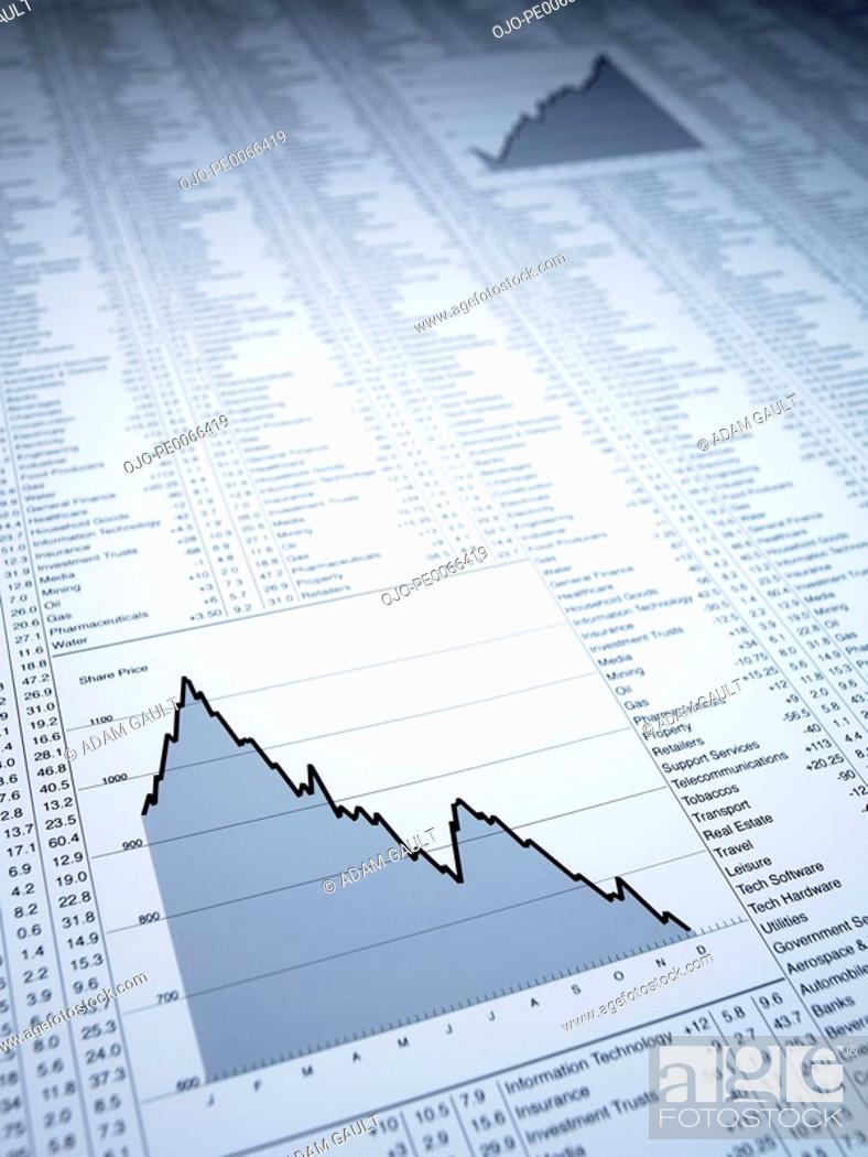 Stock Photo: Descending line graph and list of share prices.
