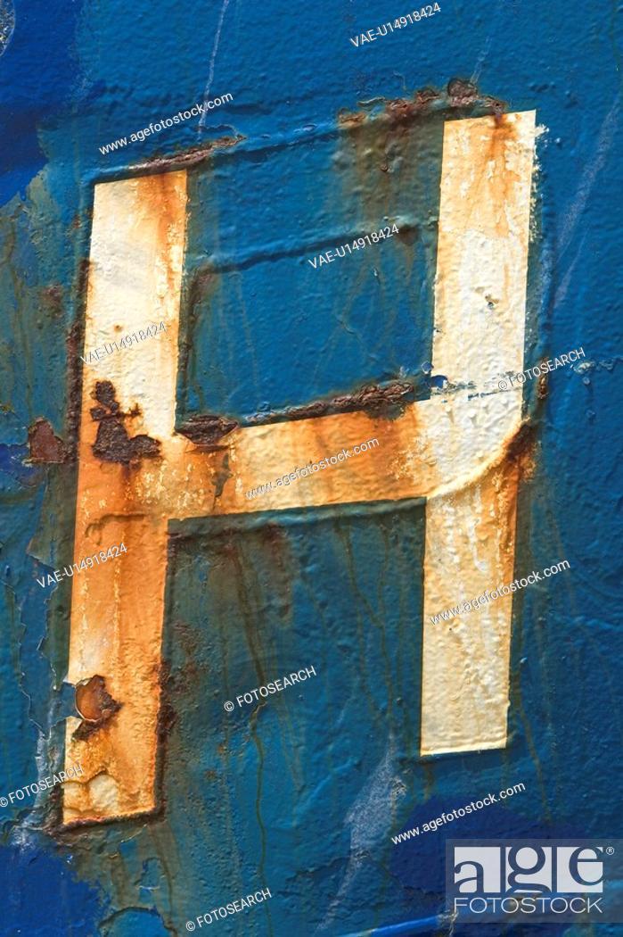 Stock Photo: Blue, Damaged, Close-Up, Capital Letter, Alphabet.