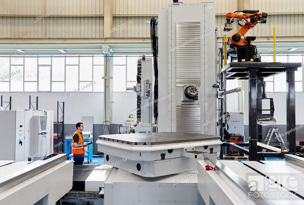 Stock Photo: Lathe, Machining Center, CNC, Design, manufacture and installation of machine tools, Gipuzkoa, Basque Country, Spain, Europe.