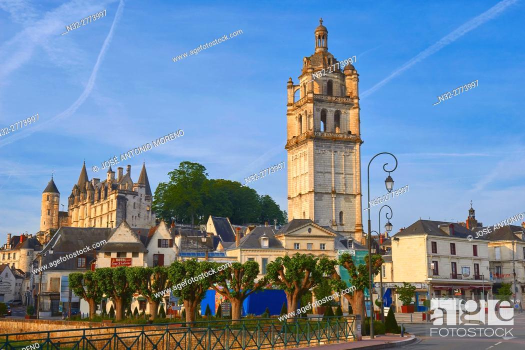 Stock Photo: Loches, Castle, Logis Royal Castle, Chateau de Loches, Saint Antoine tower, Indre-et-Loire, Touraine, Pays de la Loire, Loire Valley, UNESCO World Heritage Site.