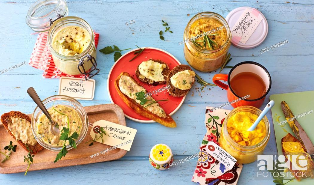 Stock Photo: Vegetarian, Mediterranean and Oriental sandwich spreads.