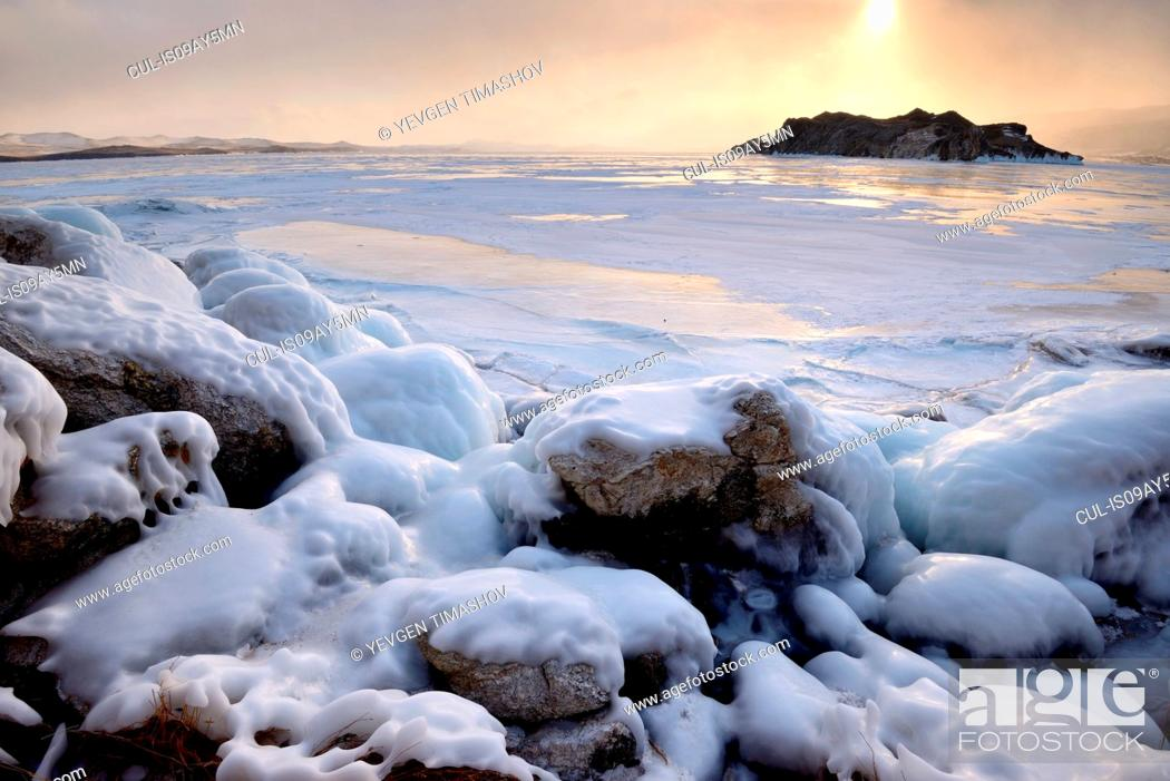 Stock Photo: Oltrek Island at sunset, Baikal Lake, Olkhon Island, Siberia, Russia.