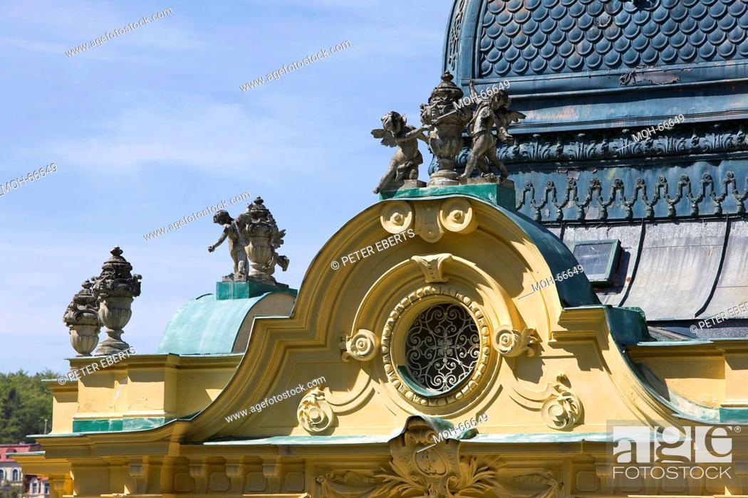 Imagen: Marienbad-Tschechische Republik- Hauptkolonnade-erbaut ca. 1889-wiedereröffnet 1981. Fassadendetail.