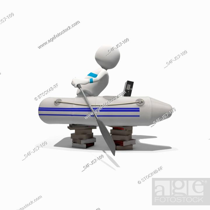 Stock Photo: Anthropomorphic figure paddling in rubber boat on stacks of books, CGI.