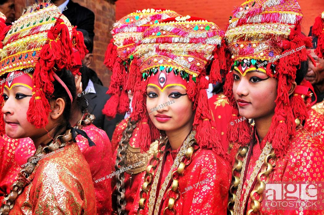 Stock Photo: The girls dressed up traditional style during Indra Jatra festival.
