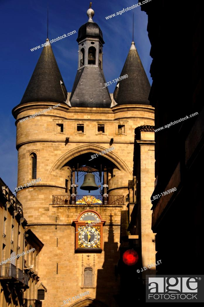 Stock Photo: Grosse Cloche bell tower former St Eloi town gate, Bordeaux, Gironde, Aquitaine, France.
