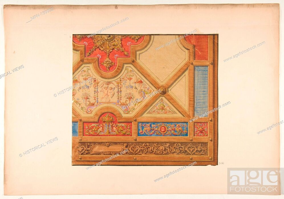 Imagen: Partial design for the decoration of a ceiling in geometric panels painted with putti, masks., and griffins. Artist: Jules-Edmond-Charles Lachaise (French.