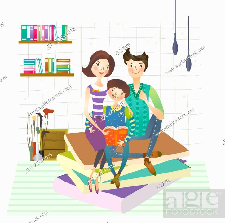 Stock Photo: Family reading book together.