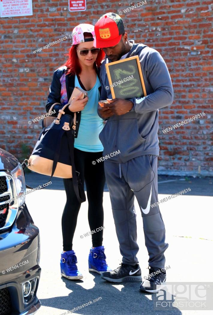 Stock Photo: Celebrities at the 'Dancing with the Stars' rehearsal studios Featuring: Sharna Burgess, Antonio Brown Where: Hollywood, California.