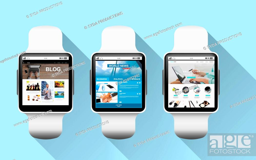 Stock Photo: modern technology, object and media concept - close up of black smart watches with applications on screen over blue background.